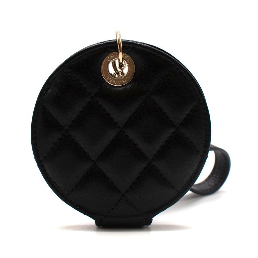 Chanel black leather luggage tag