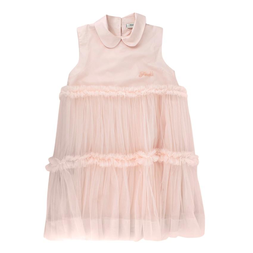 Fendi Kids Petal Pink Tulle&Cotton Dress
