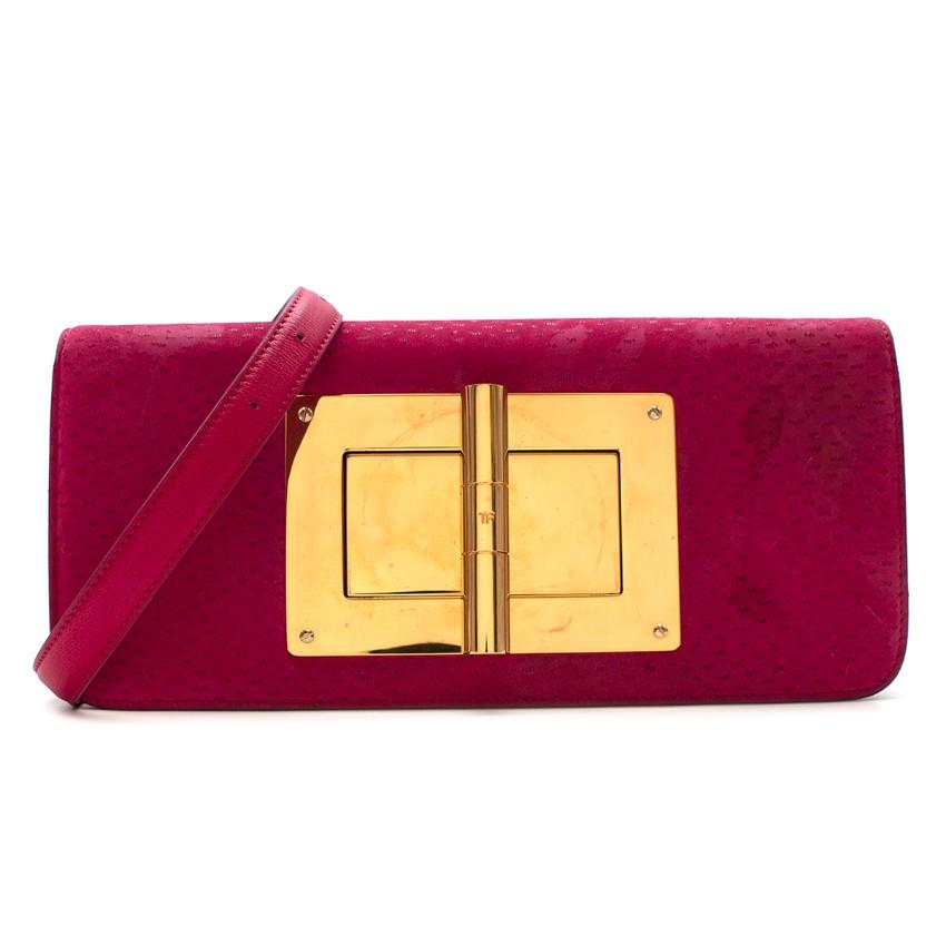 Tom Ford Pink Textured Suede Natalia Bag