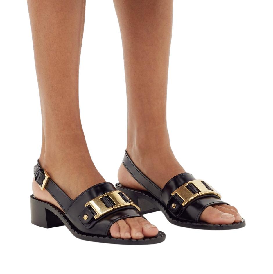 Prada Black Leather Low Heel Sandals