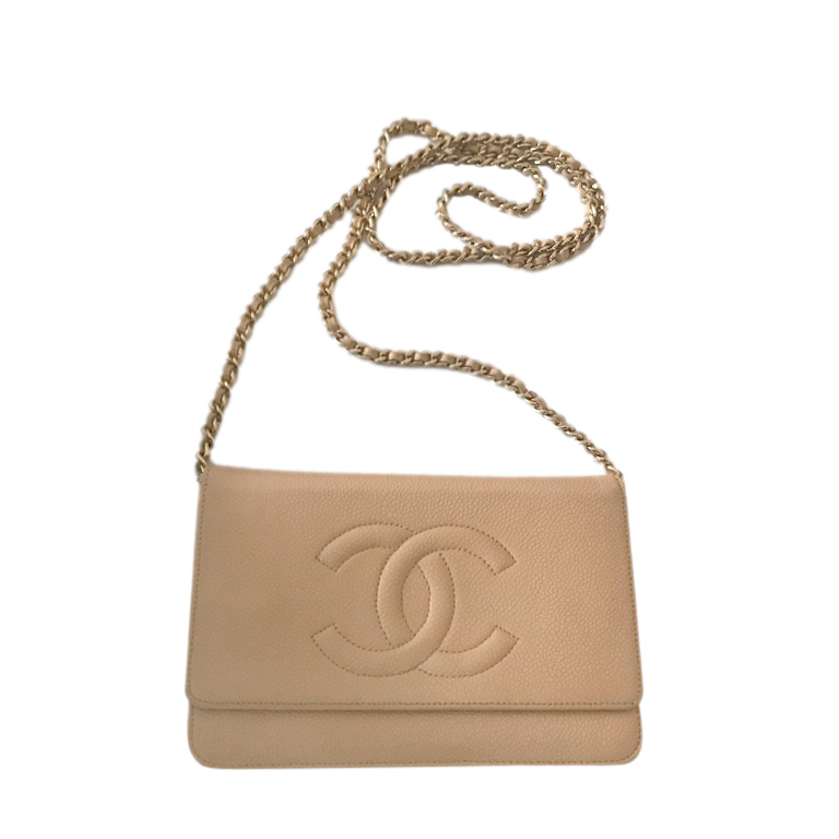 Chanel Beige Caviar Leather CC Timeless Wallet on Chain