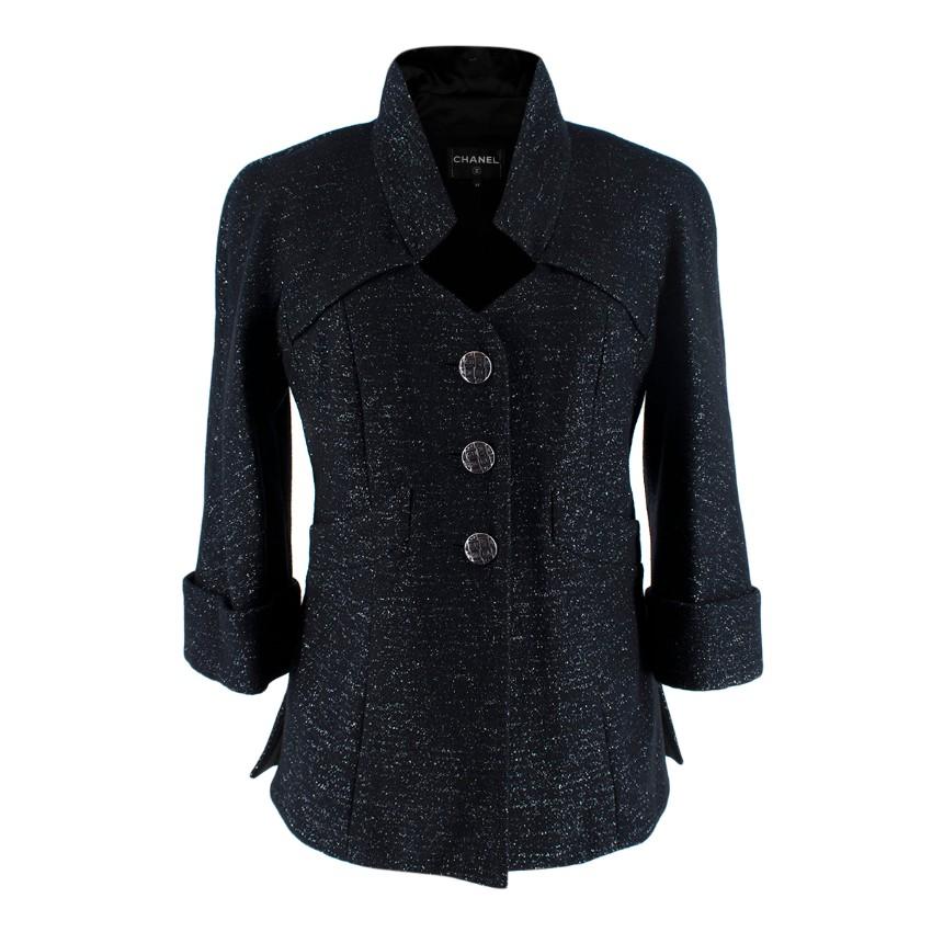 Chanel Black Lurex Wool Blend Jacket