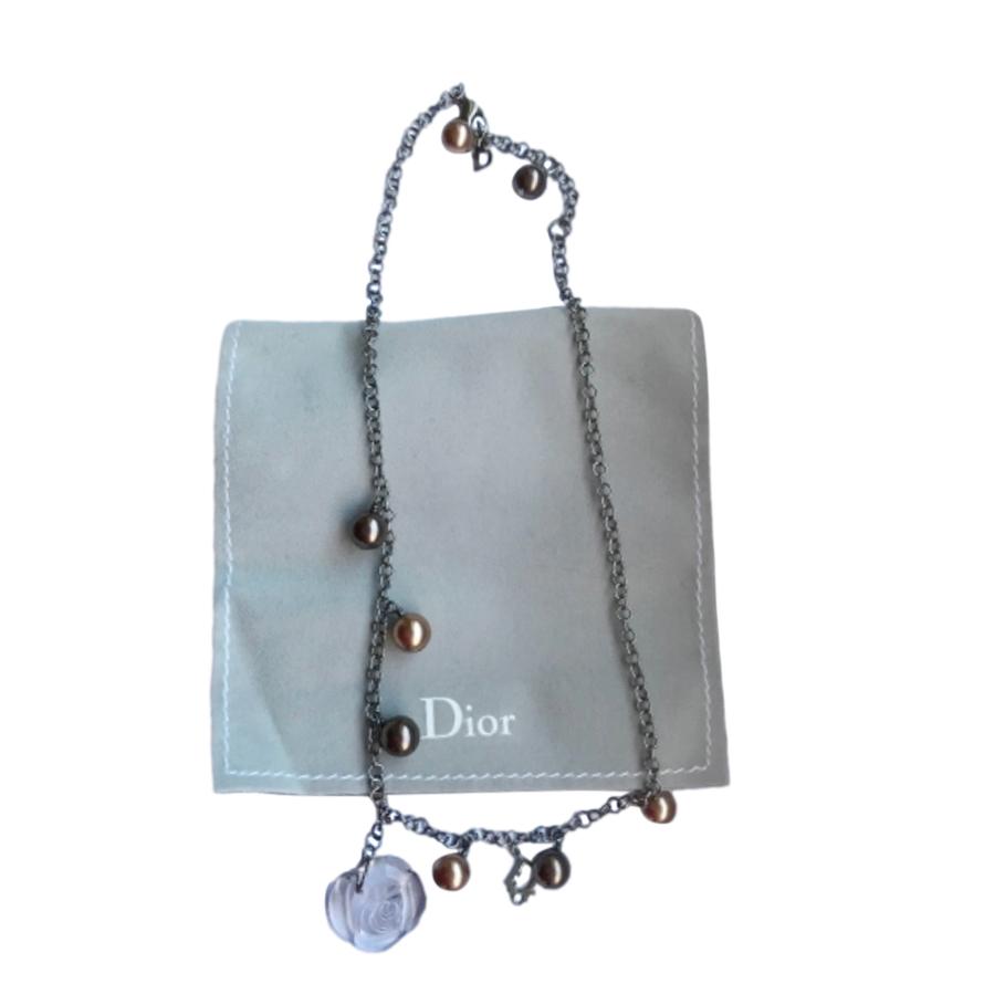 Dior Plexi Flower Pearl Chain Necklace