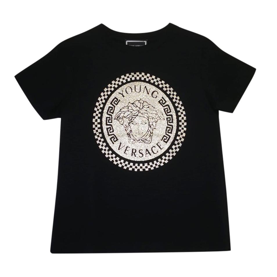 Young Versace Kids 6Y Black Logo Print T-Shirt