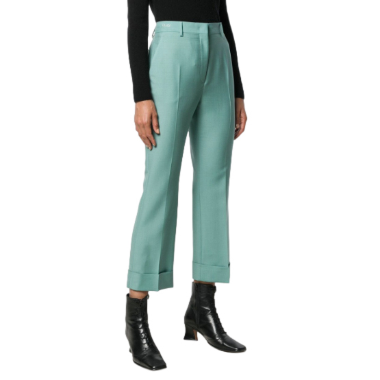 Fendi Turquoise Embroidered Logo Crop Pants