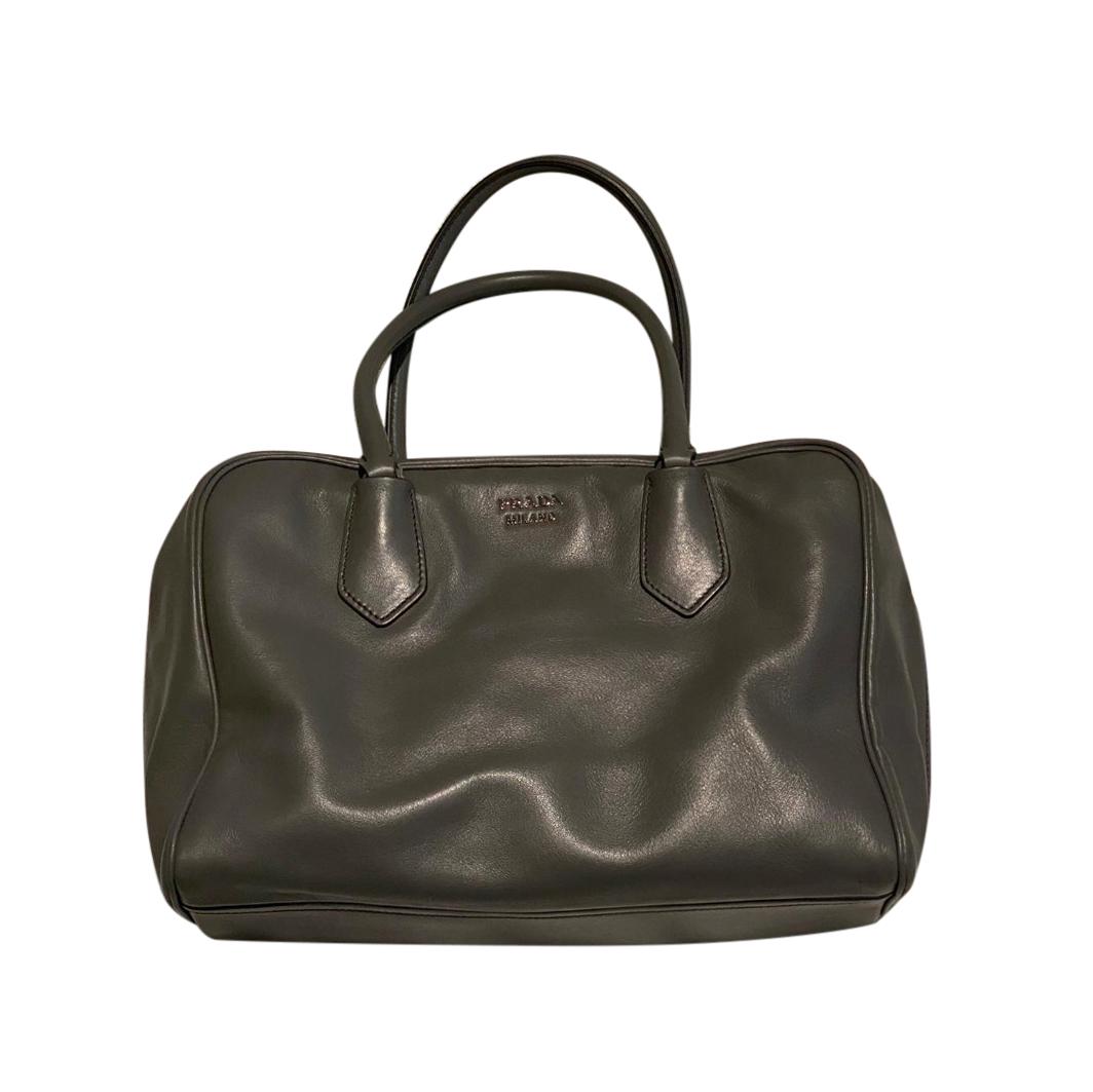 Prada Grey Leather Tote Bag