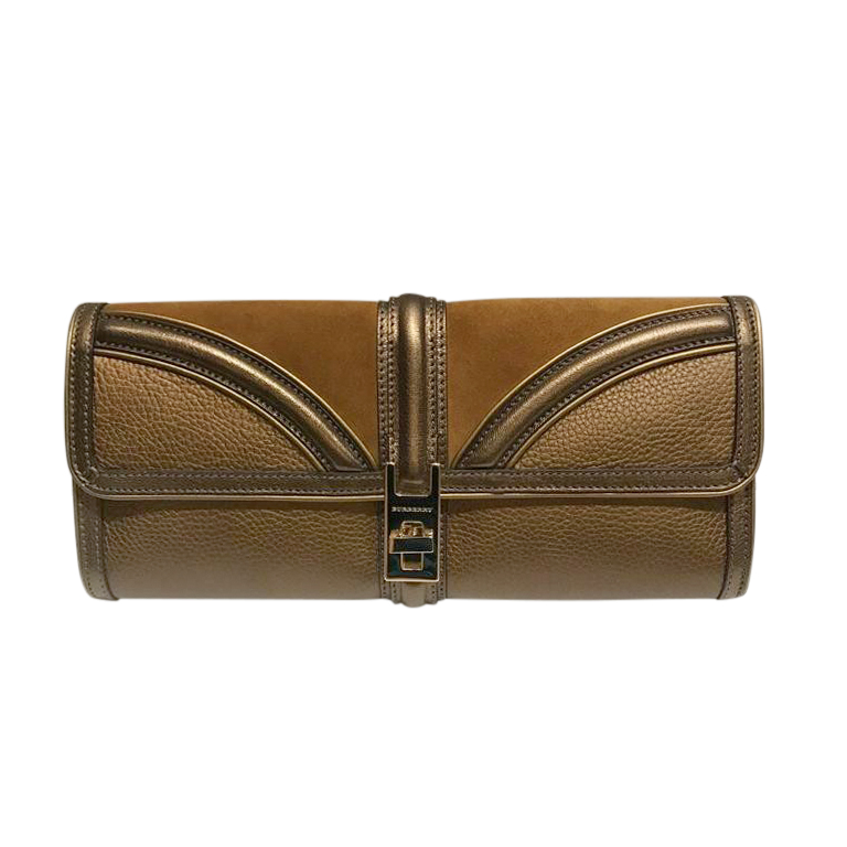 Burberry Bronze Suede & leather Clutch