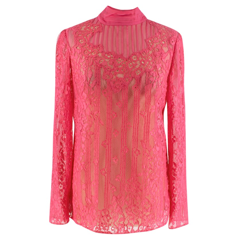 Valentino High-neck Chantilly-lace blouse