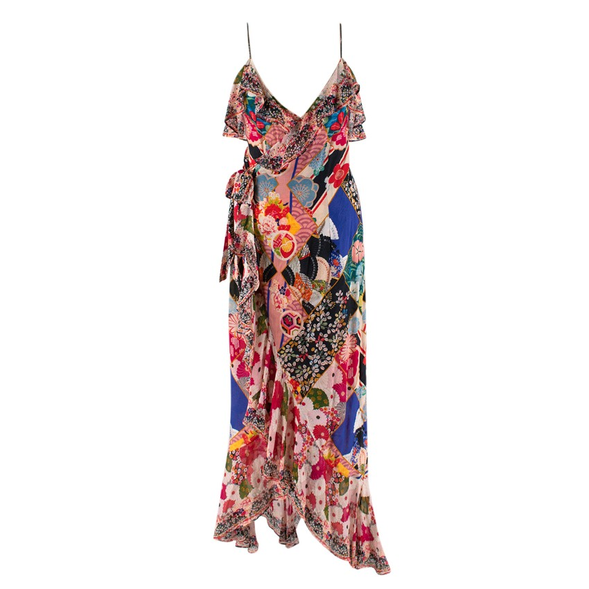 Camilla Patchwork Print Crystal Embellished Silk Wrap Dress