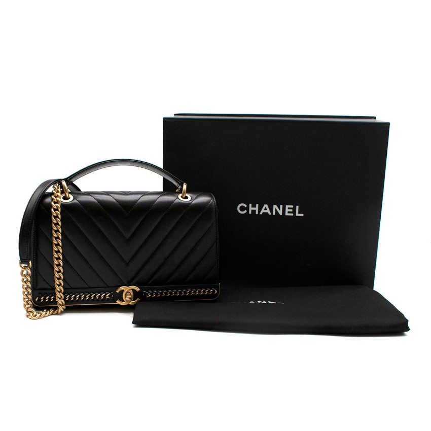 Chanel Chevron Stitched Chain Top Handle Flap Bag