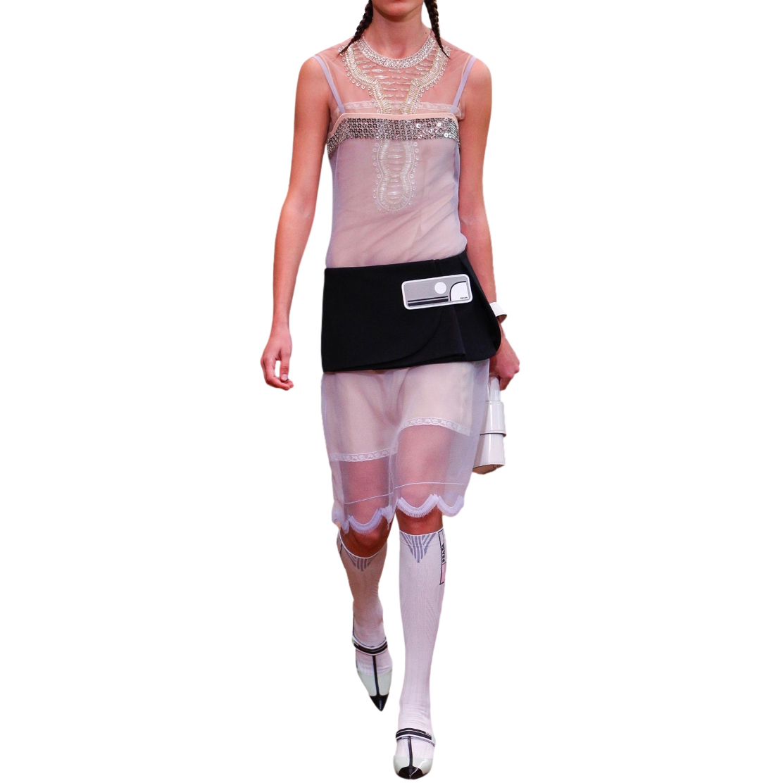 Prada Sheer Embellished Runway Tulle Top