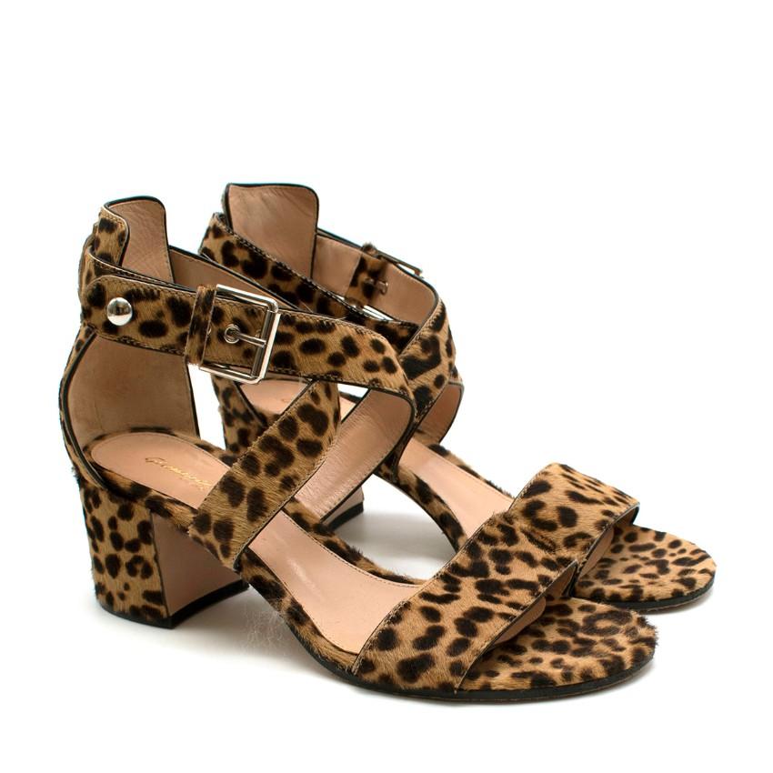 Gianvito Rossi Leopard Print Open Toe Strappy Heels