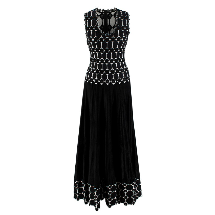 Alaia Black & White Sleeveless Knit Gown