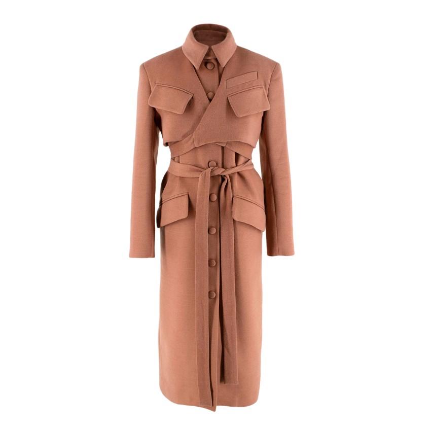 Materiel Rose Pink Button Down Wrap Belt Wool Coat