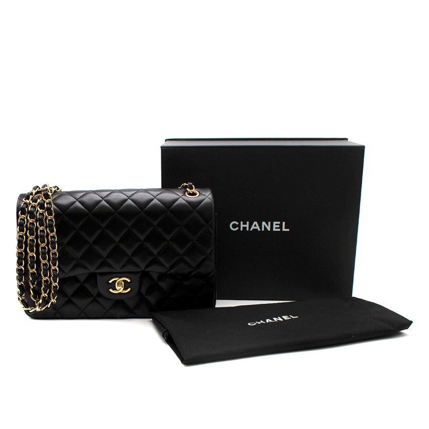 Chanel Black Quilted Lambskin Large Double Flap GHW