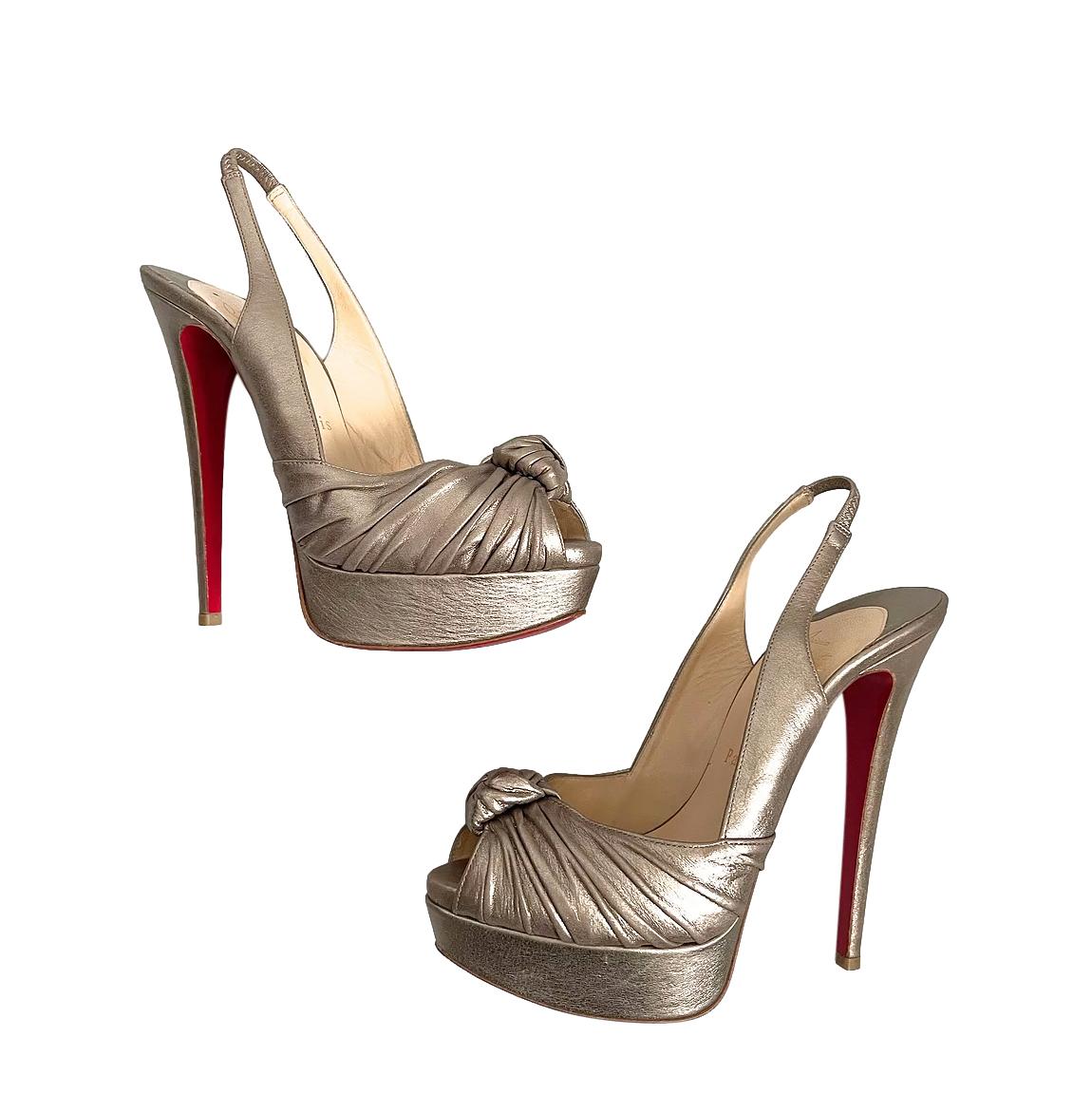 Christian Louboutin Metallic Knotted Peep Toe Pumps