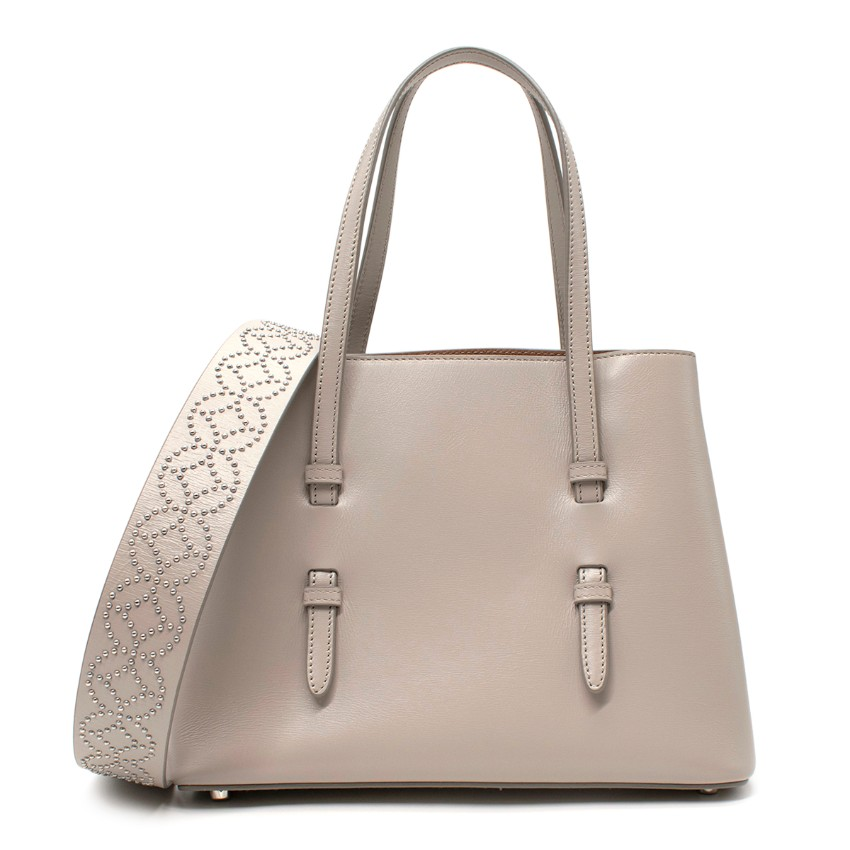 Alaia Small Grey Leather Studded Shoulder Bag