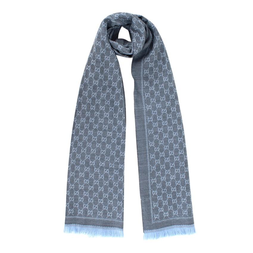 Gucci Grey & Blue Wool GG Monogram Scarf