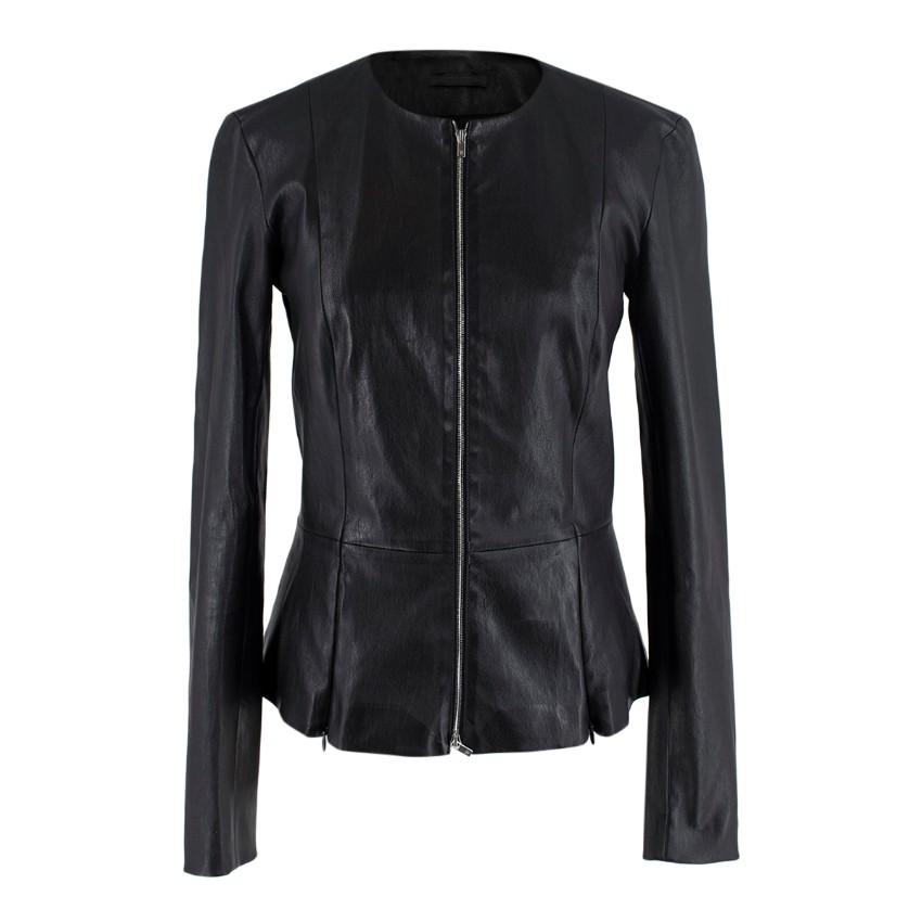 The Row Black Leather Collarless Peplum Jacket