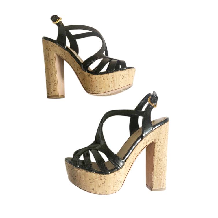 Prada Strappy Patent Leather Cork Platform Sandals
