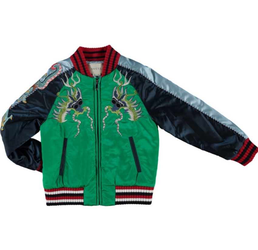 Gucci Kids 4Y Dragon Embroidered Bomber Jacket