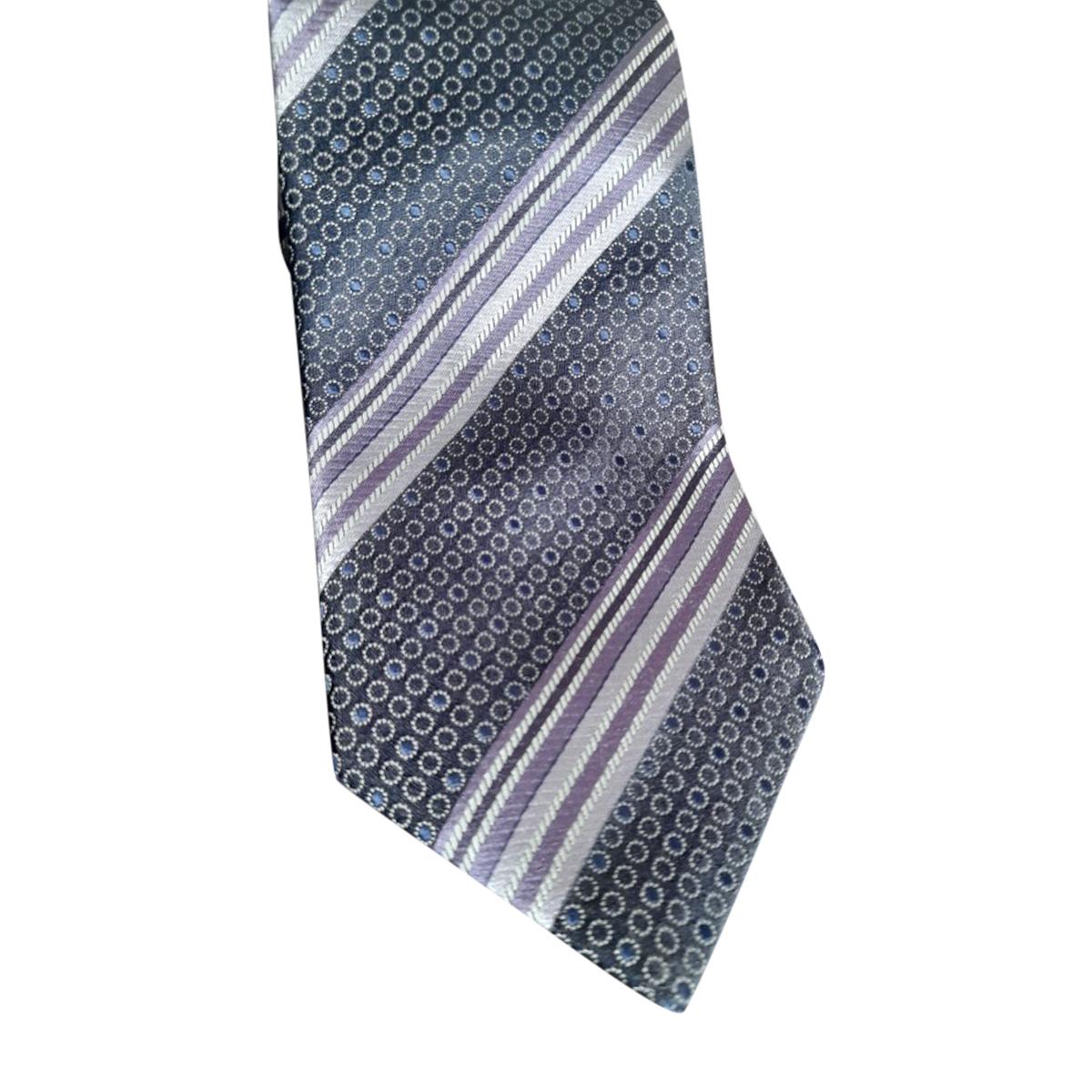 Ermenegildo Zegna Purple Embroidered Silk Classic Tie