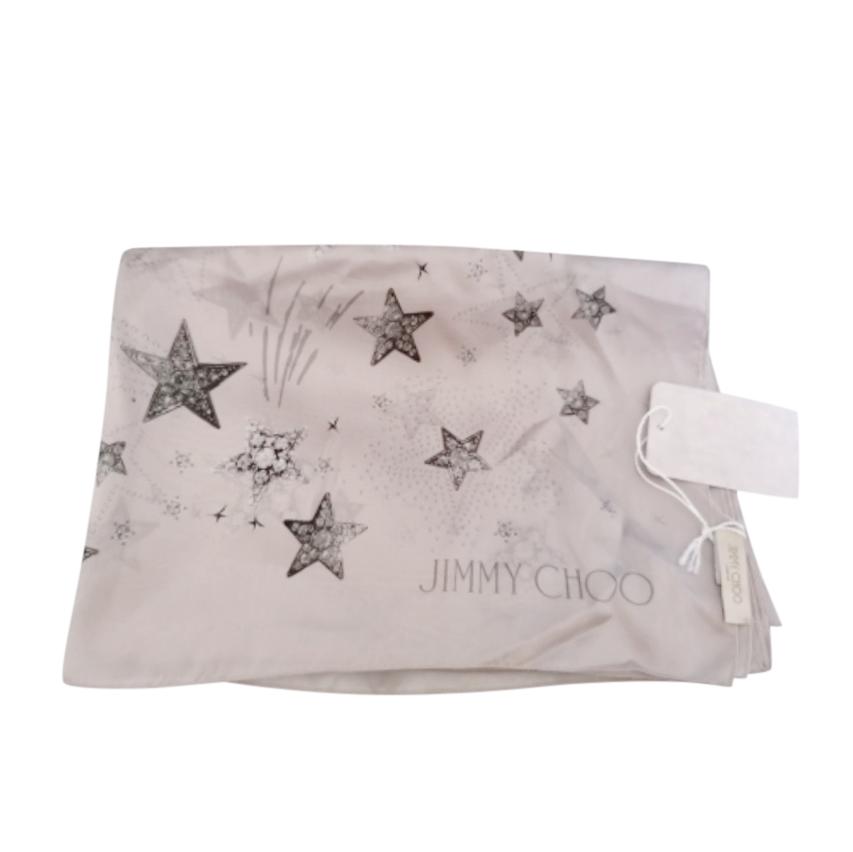 Jimmy Choo Grey Star Print Silk Scarf