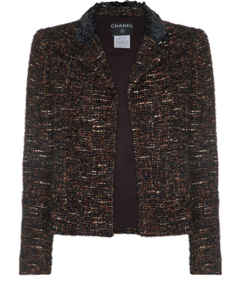 Chanel Boucle Tweed Embellished Brown Jacket