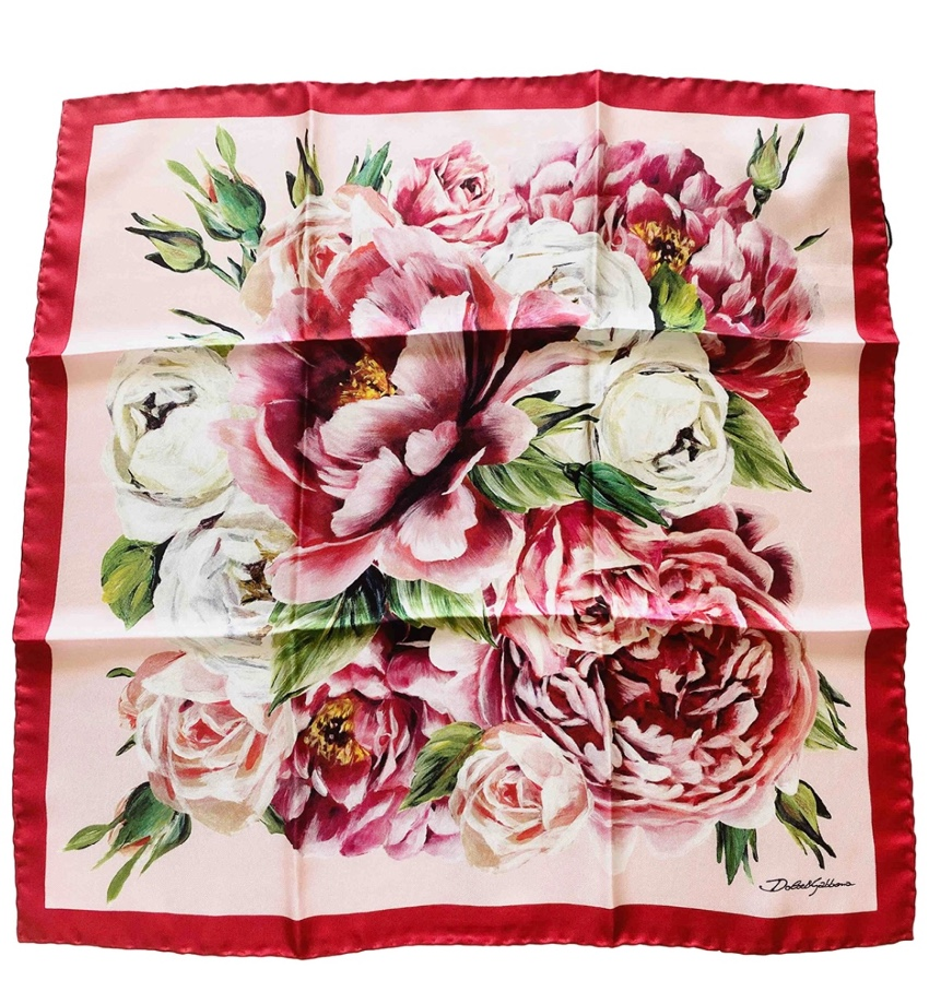 Dolce & Gabbana Pink Floral Print Silk Scarf/Neck Tie