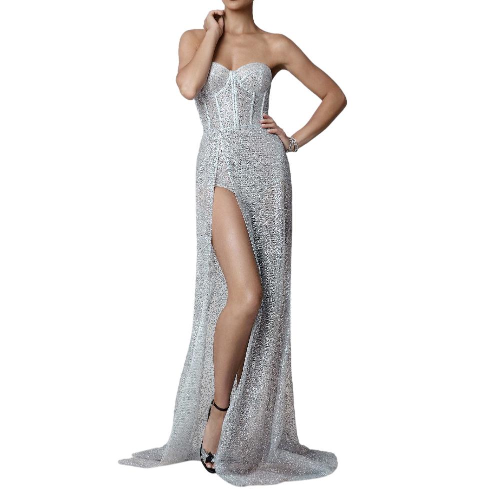 Berta Embellished Silver Mesh Strapless Corset Dress