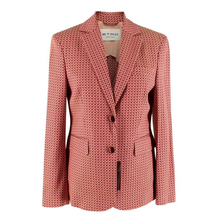 Etro Pink Jacquard Single Breasted Blazer Jacket