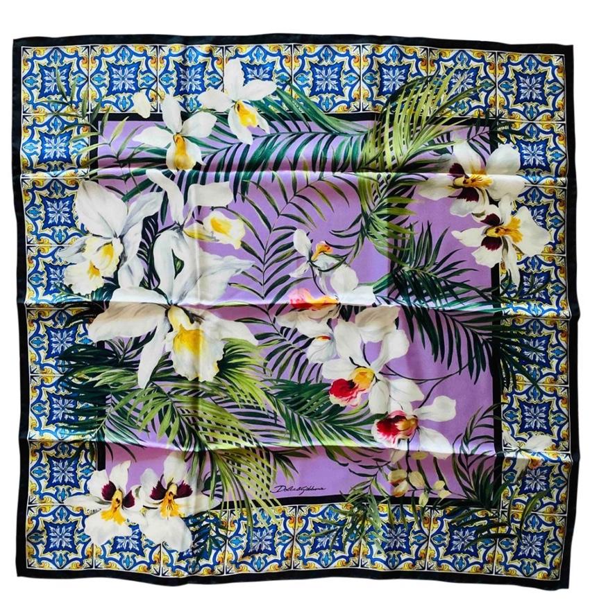 Dolce & Gabbana Floral Majolica Print Silk Scarf