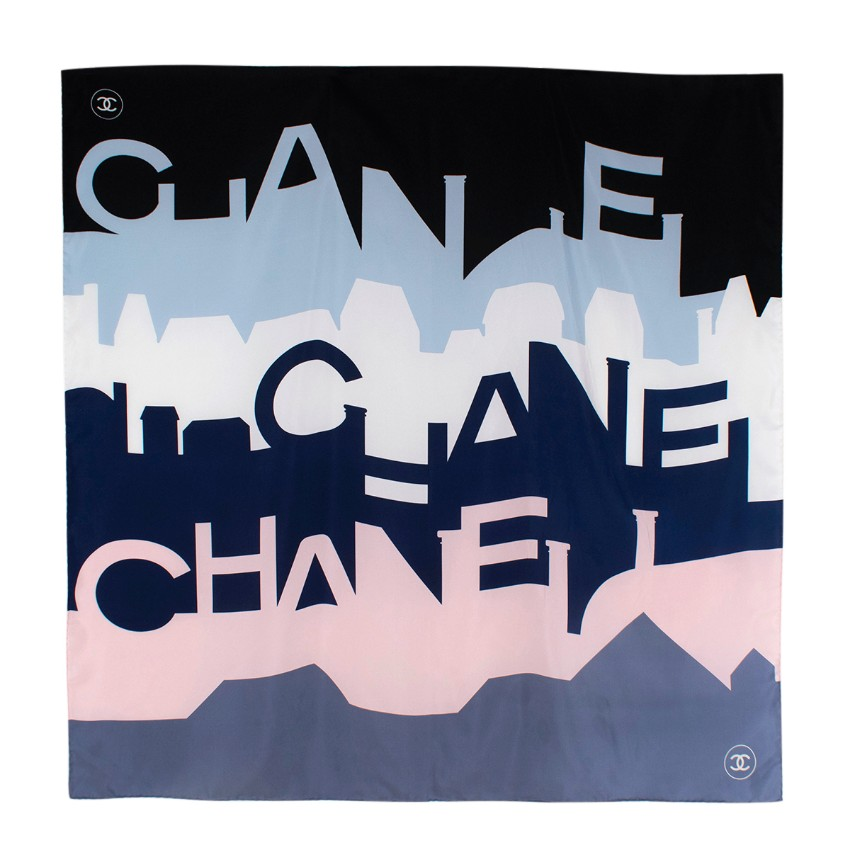 Chanel Pink & Blue Color-block City View Silk Scarf 90