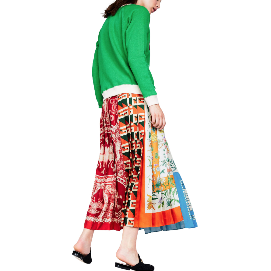Gucci Patchwork Print Pleated Asymmetric Silk Skirt