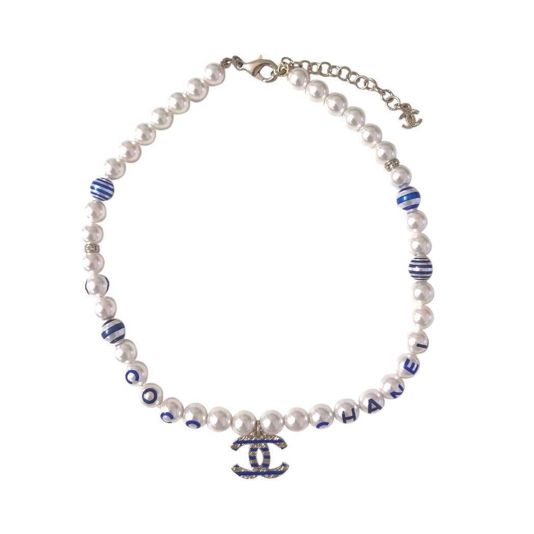 Chanel La Pausa Striped Faux Pearl CC Necklace