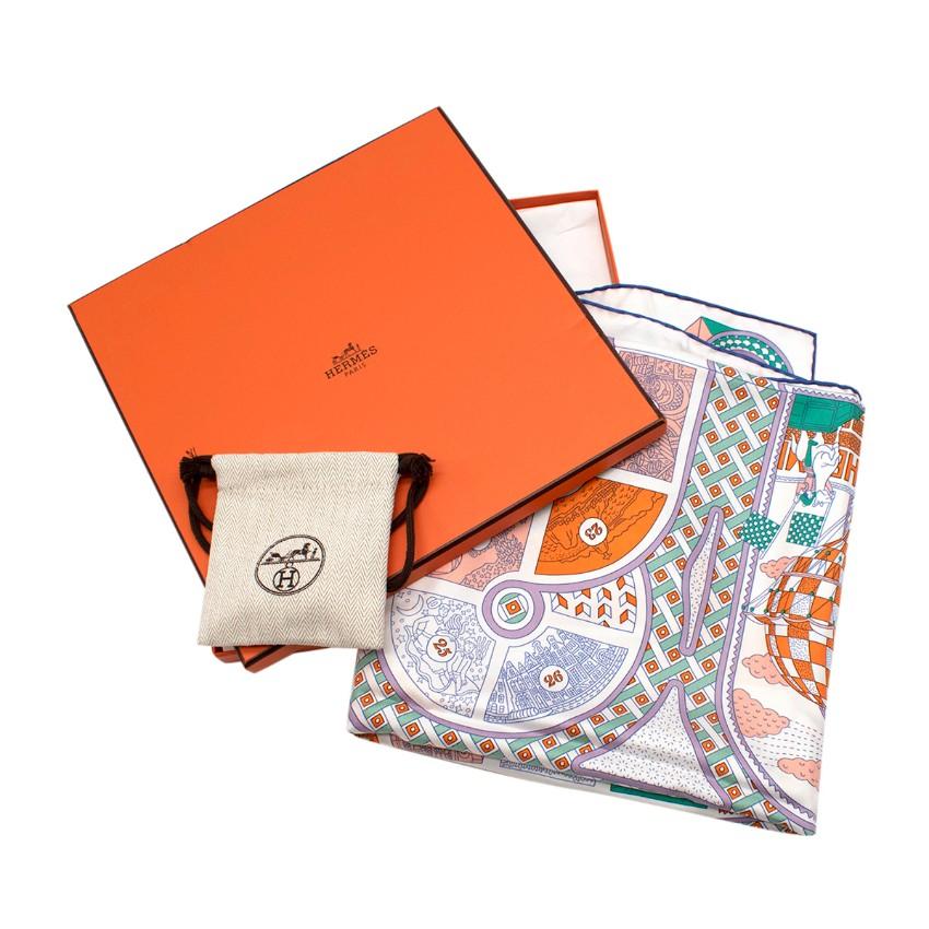 Hermes Le Tour Du Monde En 63 Cases Board Game Silk Scarf 90