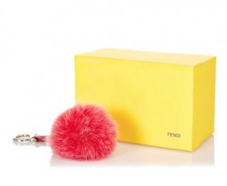 Fendi Red Fur Pom-Pom Key Chain