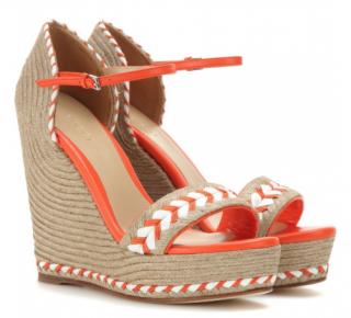 Gucci Orange Embroidered Wedge Sandals