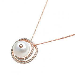 Victoria London Rose Gold Diamond & Pearl Pendant