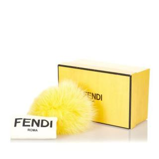 Fendi Yellow Fur Pom-Pom Key Chain