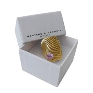 Wouters & Hendrix Gold Tone Crystal Shell Ring