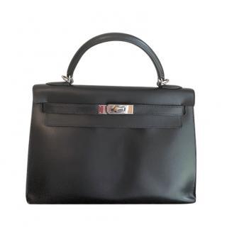 Hermes Black Box Calfskin Kelly Sellier 32 PHW