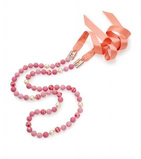Chanel Pink Faux Pearl Ribbon Tie Necklace