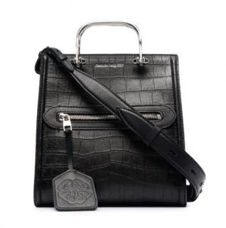 Alexander McQueen Black Croc Embossed Short Story Bag
