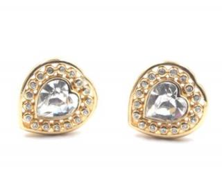 Christian Dior Vintage Gold Tone Crystal Heart Earrings