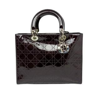 Dior Black Patent Large Lady Dior Bag