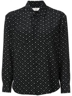 Saint Laurent black silk heart print shirt