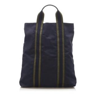 Hermes Navy Canvas Fourre Tout Cabas Bag
