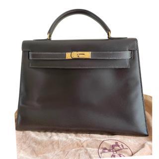 Hermes Vintage Ebene Box Calfskin Kelly Sellier 32 GHW