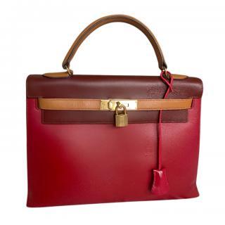 Hermes Tri-Colour Vintage Box Calfskin Kelly Sellier 32 GHW